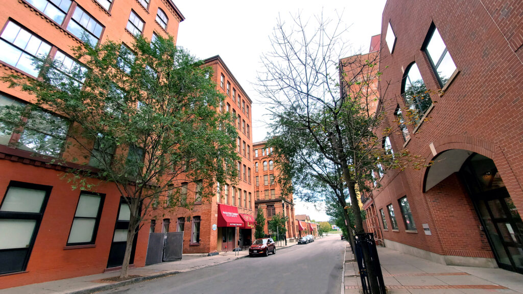 Multiple Buckingham properties along the Genesee River are home to apartments, offices, and retail.